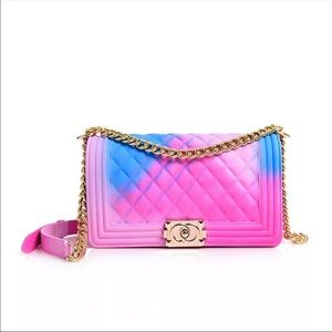 Handbags - Pink Rainbow Jelly Purse